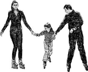 family on roller skates