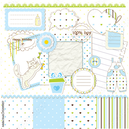Scrapbook elements for baby boy