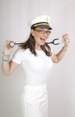Smiling female doctor, leader of medical crew on luxury cruiser