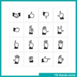 Hands gestures icon set.