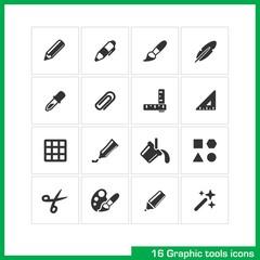 Graphic tools icon set.