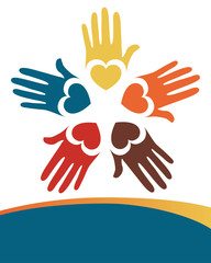 Colorful loving hands design.