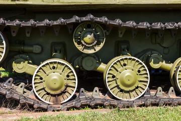 Caterpillars of the old soviet tank
