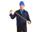 Portrait of an engineer using a measuring tape