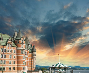 Quebec, Canada. Terrific view of Hotel de Frontenac with colourf