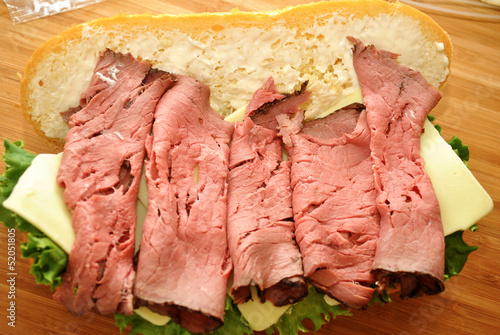 Roast Beef; Preparing a Sandwich