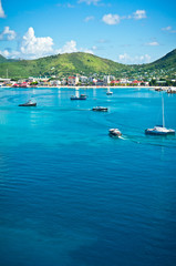 Beautiful panorama of Philipsburg, Saint Martin, Caribbean Islan