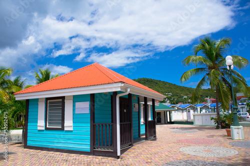Beautiful houses at Philipsburg, St Maarten, Caribbean Islands