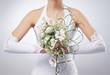 Beautiful wedding bouquet in bride's hands