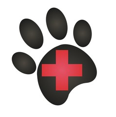 veterinary clinic - black paw - red cross