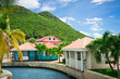Beautiful houses at Philipsburg, St Maarten, Caribbean Islands