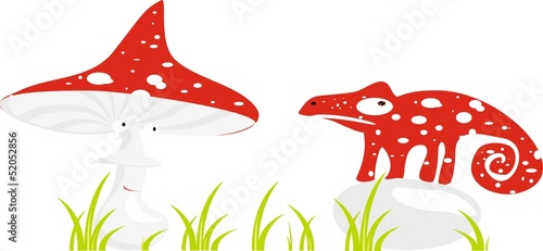 Red chameleon and fly agaric