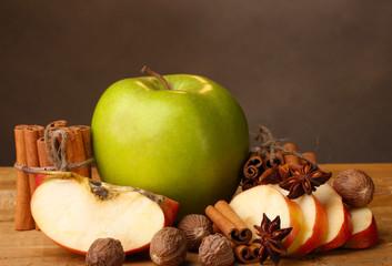 Cinnamon sticks,apples nutmeg and anise