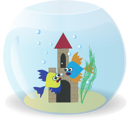 Two cute fish in a bowl, vector illustration
