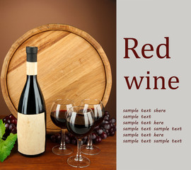 Composition of wine, wooden barrel and  grape,