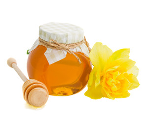 floral honey in glass pot