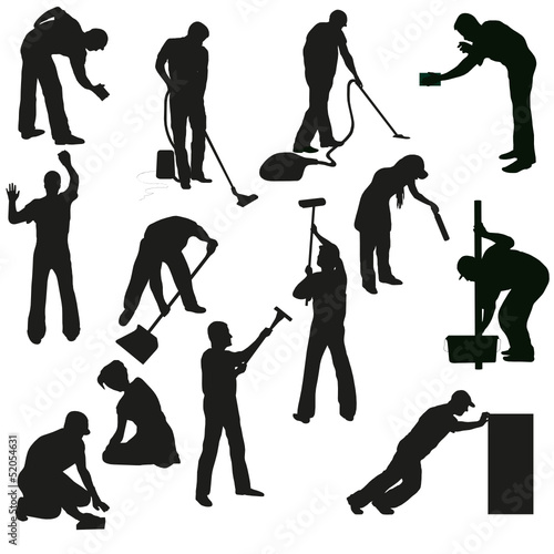 Set of thirteen professional cleaners black  silhouettes