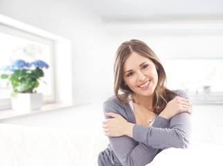 Young attractive girl in modern interior