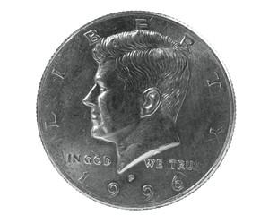 Half dollar coin with John F Kennedy design