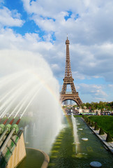 Eiffel tower with fountains on Trocadero