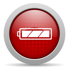 battery red circle web glossy icon
