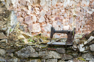Rusty leaved sewing machine in Oradour sur Glane