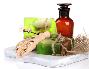 Hand made soap and ingredients for soap making, isolated