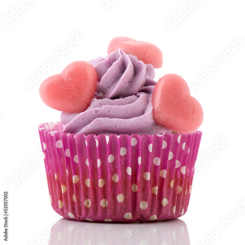 Purple cupcake with hearts