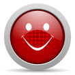 smile red circle web glossy icon