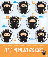 Collection of cute cartoon ninjas with different faces