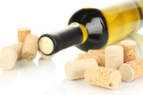 Wine and corks isolated on white