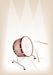 Beautiful Classical Bass Drum on Brown Stage Background