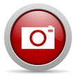 camera red circle web glossy icon