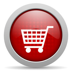 shopping red circle web glossy icon