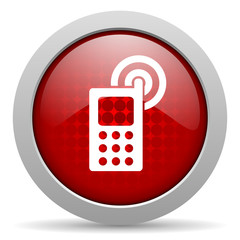 cellphone red circle web glossy icon
