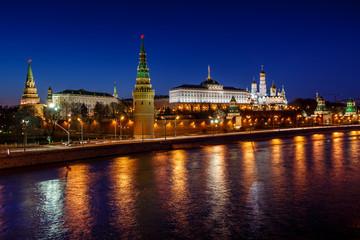 Moscow Kremlin Embankment and Vodovzvodnaya Tower in the Night,