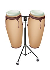 Beautiful Musical Instrument of Congas on Stand