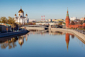 View on Kremlin and Cathedral of Jesus Christ Saviour, Moscow, R