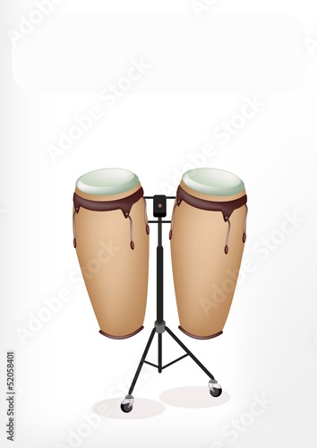 Beautiful Congas with Stand on White Background