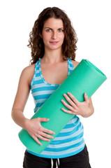 Woman Holding a Mat