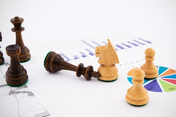 Chess pieces on business background. Company strategic behavior