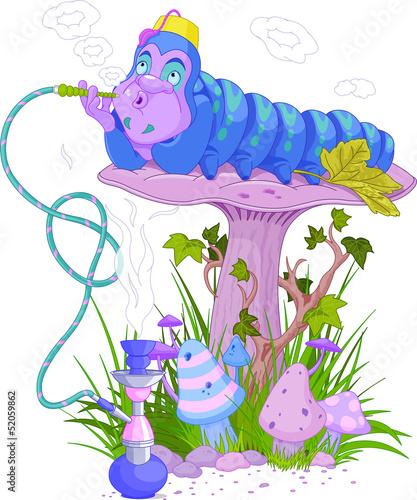 Aluminium Magische wereld The Blue Caterpillar