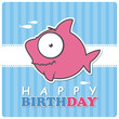 Greeting card with cute cartoon shark.