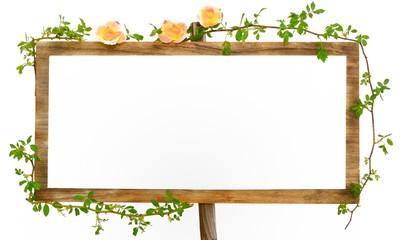 薔薇の花と緑のフレーム