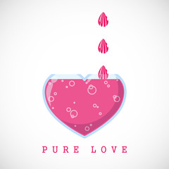 Abstract vector illustration with drops and heart-flask.