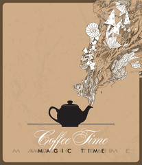 Fantasy vector illustration of coffee-pot.