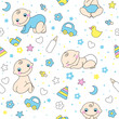Seamless pattern for baby boys.