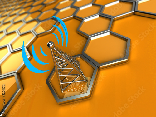 wireless tower against a 3d background