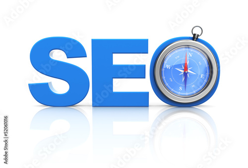 seo word and compass