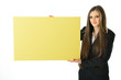 Business Woman Blank Yellow Board